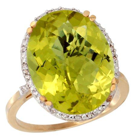 Gold Large Oval Diamond (14K Yellow Gold Natural Lemon Quartz Ring Large Oval 18x13mm Diamond Halo, size 7)