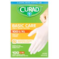 Curad Basic Care Large/Extra Large Vinyl Exam Gloves, 100 count