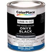 ColorPlace Pre Mixed Ready To Use, Interior Paint, Onyx Black, Semi-Gloss Finish, Quart