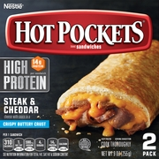 HOT POCKETS Steak and Cheddar Cheese Melt Sandwiches – Hot Pockets Frozen Sandwiches with No Artificial Flavors and 14g of Protein, Pack of 2