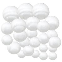 White Decorative Round Chinese Paper Lanterns, 24ct, Assorted Sizes
