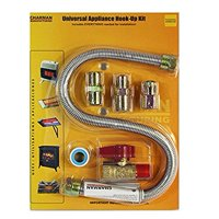 Universal Gas Appliance Installation Kit - 22-Inch One-Stop Range Hook-Up - Stainless Steel Flexible Connector Line - 1/2-Inch Brass Flare Shut Off Valve & Couplings - Water Heater Stove Fireplace