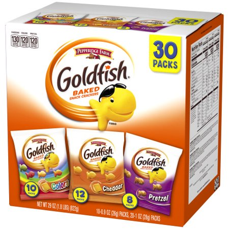 Pepperidge Farm Goldfish Classic Mix Crackers, 29 oz. Variety Pack Box, 30-count Snack - Bones Variety Pack
