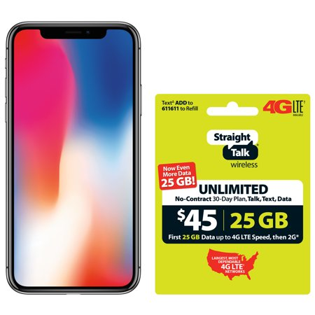 Straight Talk Apple iPhone X Bundle with $45 airtime plan, Gray ()