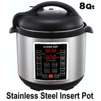 GoWISE USA 8-Quart 10-in-1 Electric Programmable Pressure Cooker (Stainless Steel)