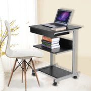 Tbest Portable Modern Wooden Rolling Mobile Standing Computer Laptop Home Office Workstation Desk, Wooden Computer Table,Computer Desk