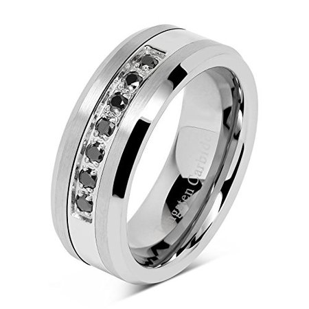 8mm Men's Tungsten Ring Black Cz Inlay Wedding Band Titanium Color Size 8-16