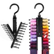 IPOW 2 Pack Multipurpose Swivel Black Tie Rack Scarf Hanger Holder Belt Hook for Closet Storage