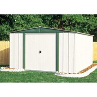 ARROW SHEDS HM65-A HAMLET 6FT X 5FT STEEL EGGSHELL&GREEN MEADOW- DOOR=W32IN X H58IN