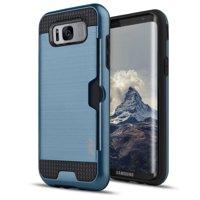 Samsung Galaxy S8 / S8 Plus Case, Zizo Metallic Slim Hybrid Cover w/ Card Holder