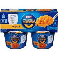 (2 Pack) Kraft Easy Mac Original Flavor Macaroni & Cheese Dinner, 4 - 2.05 oz Microwavable Tubs