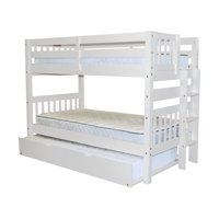 Bedz King Bunk Beds Twin over Twin Mission Style with End Ladder and a Twin Trundle, White