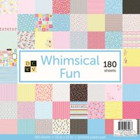 """American Crafts DCWV 12"""" x 12"""" Whimsical World Cardstock - Paper Crafting Supplies, Scrapbooking Embellishment - 60 Sheets - Multicolored"""