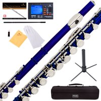 Mendini by Cecilio MFE-BL Blue Lacquer C Flute with Stand, Tuner, 1 Year Warranty, Case, Cleaning Rod, Cloth, Joint Grease, and Gloves