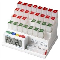 MedCenter System Monthly Pill Organizer - Pill Dispenser and Reminder Alarm