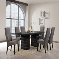 "Aziza 7 Piece Dining Set, Cappuccino Wood, 71"" Rectangle, Contemporary, (Table & 6 Gray Parsons Chairs)"