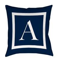 IDG Classic Block Monogram Decorative Indoor/Outdoor Pillow, Blue