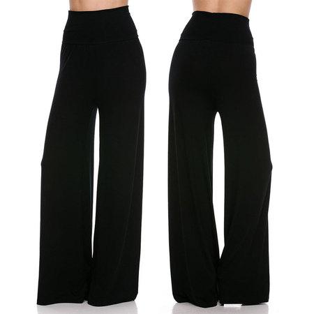 JED FASHION Women's High Waist Fold-Over Wide Leg Palazzo Pants