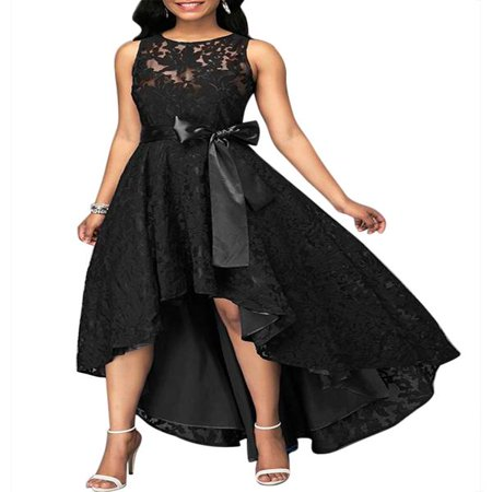 JustVH Women's Formal Floral Lace Sleeveless High-low Evening Party Maxi Dress ()