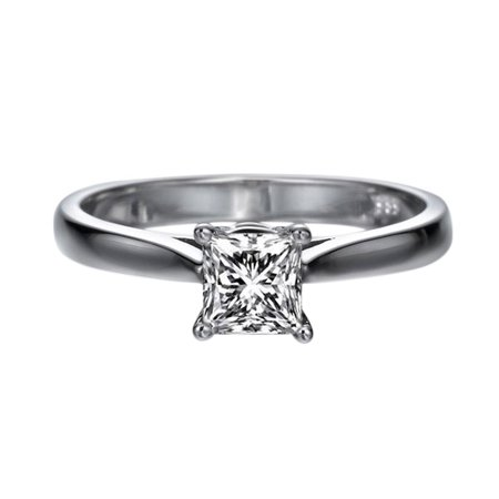 Princess Cut Moissanite Engagement Ring Charles & Colvard Forever One 5.5MM (1ct DEW) 14k White Gold Classic Solitaire
