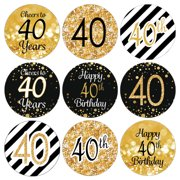 40th Birthday Party Favor Stickers