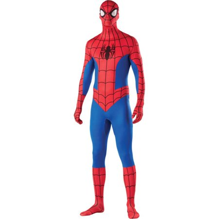Mens Spiderman Second Skin Halloween Costume - Male Halloween Makeup With Beard