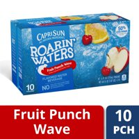 Capri Sun Roarin Waters Fruit Punch Wave Flavored Water Beverage, 6 Fl. Oz., 10 Count