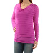 1eb747678b9f57 INC Womens Purple Sheer W/ Cami Striped Long Sleeve Scoop Neck Top Size: S
