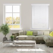 """Arlo Blinds Cordless 2 Inch Faux Wood Horizontal Blinds - Size: 17""""W x 60""""H, White, Cordless Lift and Wand Tilt"""