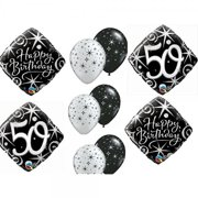 10pc BALLOON Set 50th BIRTHDAY Over The Hill Party BLACK Silver Classy Decorations