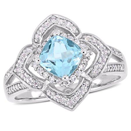1-1/3 Carat T.G.W. Sky Blue Topaz, White Topaz and 1/5 Carat T.W. Diamond Sterling Silver Quatrefoil Split Shank - Quatrefoil Flower Ring