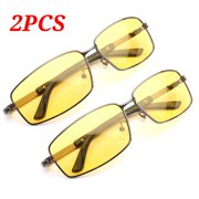 6acc2ab1b0 2PCS Yellow Len Metal Frame Fashion Portable Anti-UV Polarized Sunglasses  Night Vision Glasses Goggles