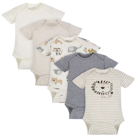 Gerber Organic Cotton Short Sleeve Onesies Bodysuits, 5pk (Baby Boy)