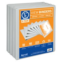 """Samsill Durable .5"""" Round Ring View Binder, White, 8 Pack"""