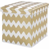 Mainstays Collapsible Storage Ottoman, Gold Chevron