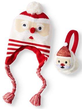 Holiday Time Festive Santa Hat and Earwarmer 2-Piece Set