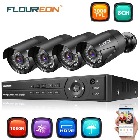 FLOUREON HD1080N Security Camera System for Home Surveillance with 4 1500TVL HD720Pro Camera and 8CH DVR Kit(Night Vison, Weatherproof IP66) for Home Surveillance