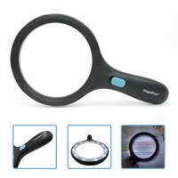 """MagniPros 5.5"""" Jumbo Handheld Magnifying Glass with 12 Bright LED Lights(provides evenly lit area) 2X Lens with 5X Zoom"""