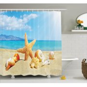 Seashells Decor Shower Curtain Set Summer Beach Theme And Sand With Starfish Rays In
