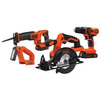 BLACK+DECKER 20-Volt MAX* 1.5 Ah Cordless Lithium-Ion 4-Tool Combo Kit, BD4KITCDCRL