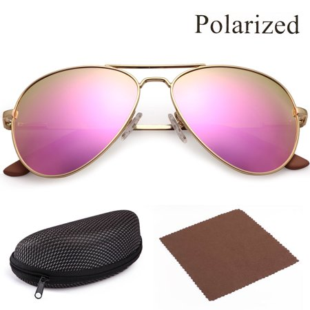 Metal Polarized Mirror (Polarized Aviator Sunglasses for Women with Case, Pink Mirrored Shatterproof 58mm Lenses, Gold Metal Frame,UV400 Protection,Spring Loaded Hinges )