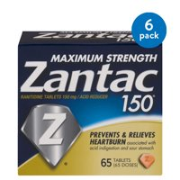 (6 Pack) Zantac 150mg Maximum Strength Ranitidine / Acid Reducer Tablets, 65ct