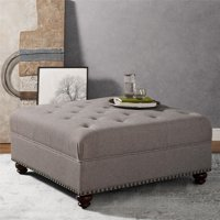 Dorel Living Hastings Tufted Ottoman with Nailheads, Beige