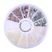 Heepo DIY 3D Nail Art Tips Decoration Charms Round Wheel Crystal Glitter Rhinestones
