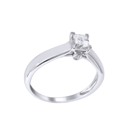 Princess Cut White Natural Diamond Promise Ring in 10k Solid Gold(0.25