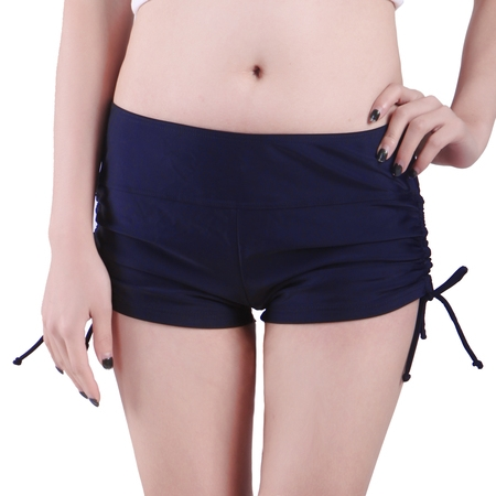 Athletic Swim Brief (Women Swim Brief with Ties- Mini Boy Short Bikini Bottoms Swimsuit Separates (Navy Blue,)