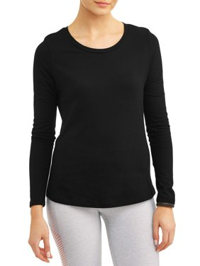 Athletic Works Women's Core Active Crewneck Long Sleeve Side Slit T-Shirt