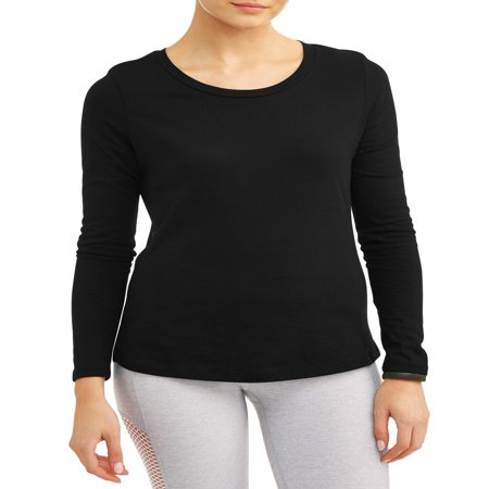 Athletic Works Women's Core Active Crewneck Long Sleeve Side Slit T-Shirt Banded Collar Long Sleeve Work Shirt