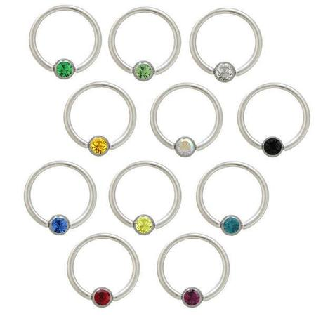 Nipple Gem Captive Bead Ring (Captive Bead Ring Nipple Ring Surgical Steel with CZ Jewel - 12 Colors)