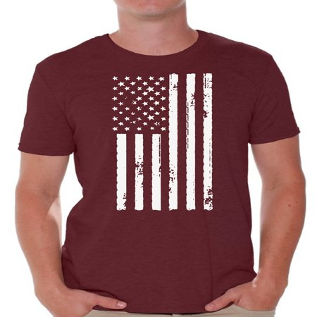 Awkward Styles Big White American Flag Men Shirt USA Pride 4th of July Men T shirt 4th of July Party USA Tshirt for Men Patriotic Gifts 4th of July Men T-shirt Stripes and Stars